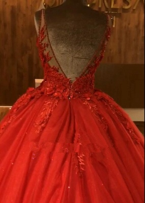 Ruby Straps Sleeveless Ball Gown Appliques Open Back Prom Dress UKes UK UK with Beading_3