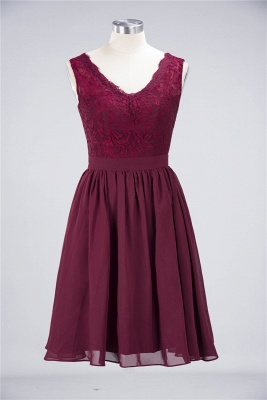 Sexy A-line Flowy Lace Alluring V-neck Sleeveless Short length Bridesmaid Dress UK UK with Ruffles_1