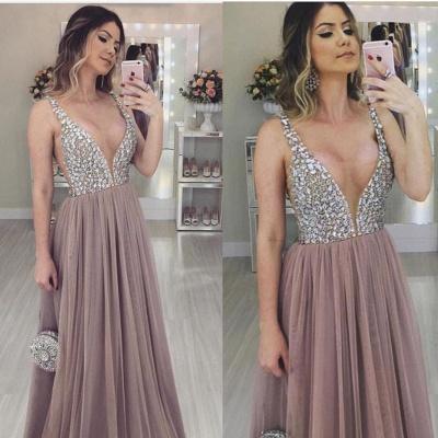 Unique V-Neck Straps Sleeveless A-Line Tulle Prom Dress UK UK_1