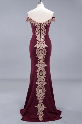 Amazing Off-The-Shoulder Floor-Length Elegant Mermaid Appliques Zipper Prom Dress UK_5