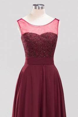 A-Line Light Chiffon Tulle Lace Beadings Jewel Sleeveless Sweep Train Bridesmaid Dress UKes UK UK with Sash_4
