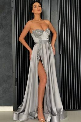 Elegant Sexy A-line Strapless Front-Slipt Prom Dress UK_1