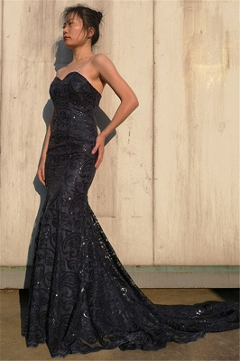 Sexy Black Cute strapless Appliques Sleeveless Elegant Mermaid Prom Dress UK UK_3