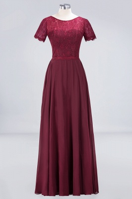 Sexy A-line Flowy Lace Round-Neck Short-Sleeves Floor-Length Bridesmaid Dress UK UK_1