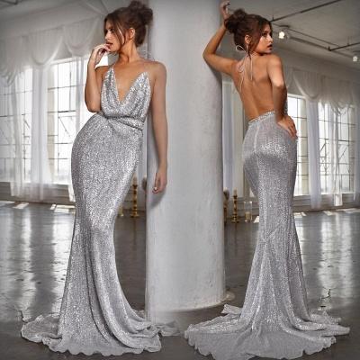 Elegant Hot V-Neck Halter Open Back Sleeveless Elegant Mermaid Prom Dress UK UK_7