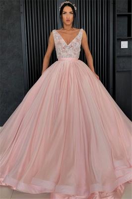 Amazing Appliques Alluring V-neck Sleeveless Prom Dress UK_1