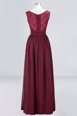 Sexy A-line Flowy Lace Alluring V-neck Sleeveless Floor-Length Bridesmaid Dress UK UK with Ruffles_2