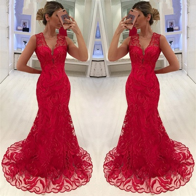 Elegant Mermaid Appliques Straps Sleeveless Alluring V-neck Long Prom Dress UK_3
