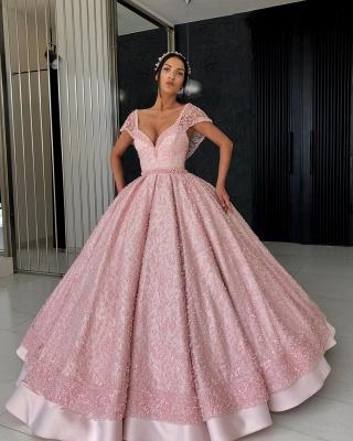 Beading Alluring V-neck Cap-Sleeves Prom Dress UK_3
