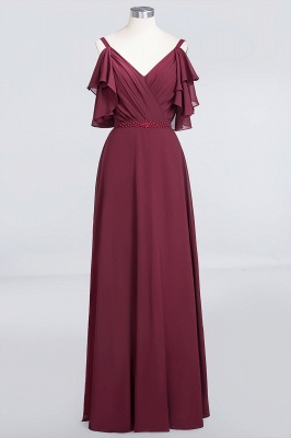 Sexy A-line Flowy Alluring V-neck Straps Sleeveless Ruffles Floor-Length Bridesmaid Dress UK UK with Pearls_1