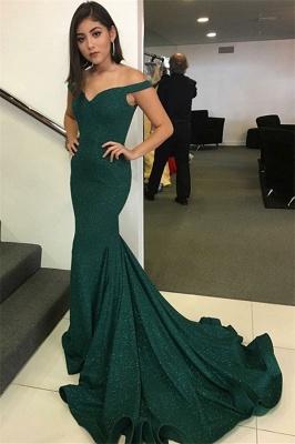 Unique Off-the-Shoulder V-Neck Sleeveless Elegant Mermaid Sweep Train Prom Dress UK UK_1