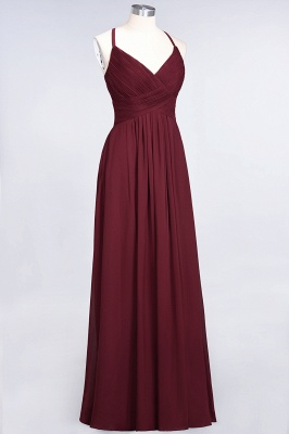 Sexy A-line Flowy Spaghetti-Straps Alluring V-neck Sleeveless Floor-Length Bridesmaid Dress UK UK with Ruffles_37