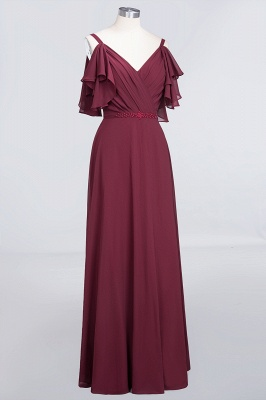 Sexy A-line Flowy Alluring V-neck Straps Sleeveless Ruffles Floor-Length Bridesmaid Dress UK UK with Pearls_3