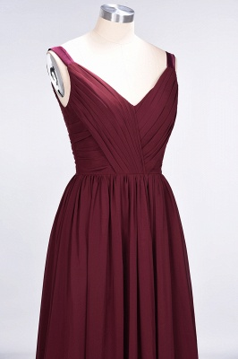 Sexy A-line Flowy Straps Alluring V-neck Sleeveless Backless Floor-Length Bridesmaid Dress UK UK with Ruffles_6