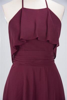 Sexy A-line Flowy Halter Sleeveless Short length Bridesmaid Dress UK UK with Ruffles_4