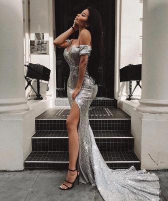 Elegant Hot Off-the-Shoulder Sleeveless Column Front Split Prom Dress UK UK_1