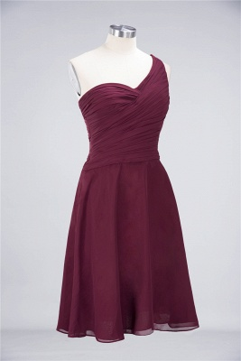 Sexy A-line Flowy One-Shoulder Sweetheart Sleeveless Short length Bridesmaid Dress UK UK with Ruffles_37