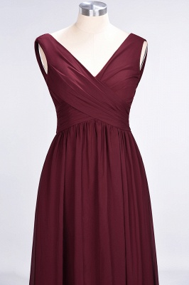 Sexy A-line Flowy Straps Alluring V-neck Sleeveless Floor-Length Bridesmaid Dress UK UK with Ruffles_4