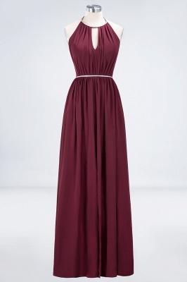 Sexy A-line Flowy Halter Sleeveless Floor-Length Bridesmaid Dress UK UK with Beading Sash_1