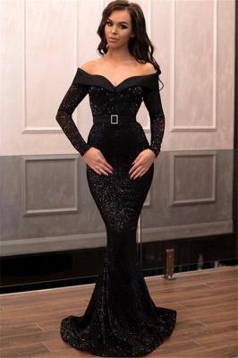 Elegant Mermaid Sequins Off-the-Shoulder Long-Sleeves Long Prom Dress UK_1