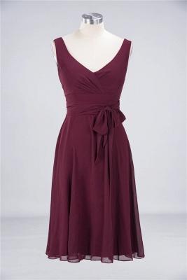 Sexy A-line Flowy Straps Alluring V-neck Sleeveless Ruffles Short length Bridesmaid Dress UK UK with Bow Sash_1