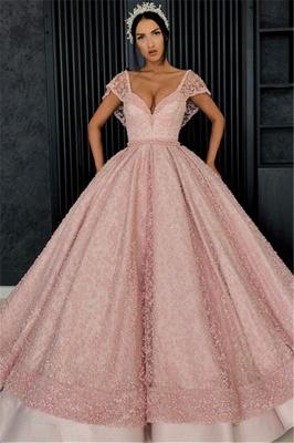 Beading Alluring V-neck Cap-Sleeves Prom Dress UK_1