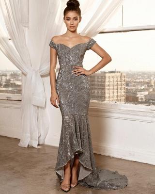 Elegant Hot Off-the-Shoulder Sleeveless Column High Low Prom Dress UK UK_4