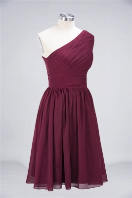 Sexy A-line Flowy One-Shoulder Sleeveless Short length Bridesmaid Dress UK UK with Ruffles_4