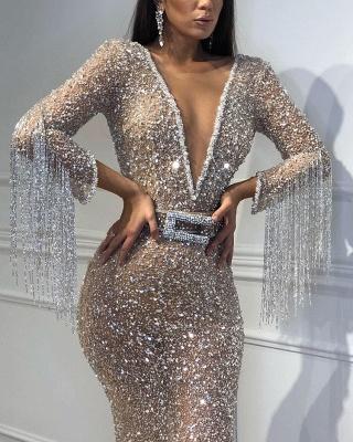 Elegant Hot Elegant Mermaid Tulle Sequins Deep V-Neck 3/4 Sleeves Sweep Train Prom Dress UK UK with Tassels_5