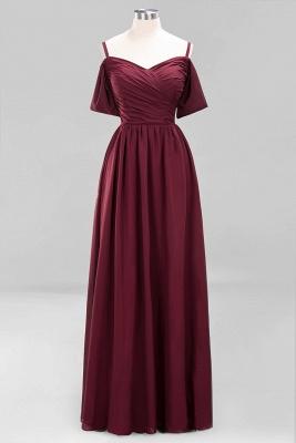 A-Line Light Chiffon V-Neck Spaghetti Straps Short-Sleeves Sweep Train Bridesmaid Dress UKes UK UK with Ruffles_8