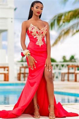 Glittering Elegant Mermaid Strapless Alluring V-neck Appliques Front-Slipt Prom Dress UK_1