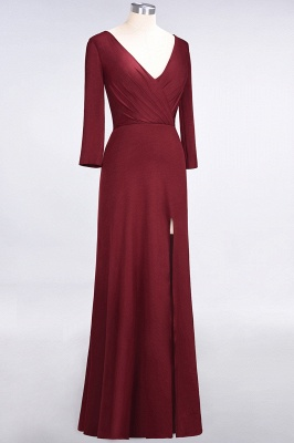Sexy A-line Spandex Alluring V-neck Long-Sleeves Side-Slit Floor-Length Bridesmaid Dress UK UK with Ruffles_33