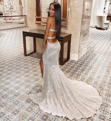 Unique Cute strapless Sleeveless Elegant Mermaid Front Split Prom Dress UK UK_6