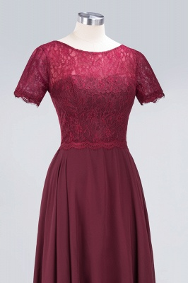 Sexy A-line Flowy Lace Round-Neck Short-Sleeves Floor-Length Bridesmaid Dress UK UK_5