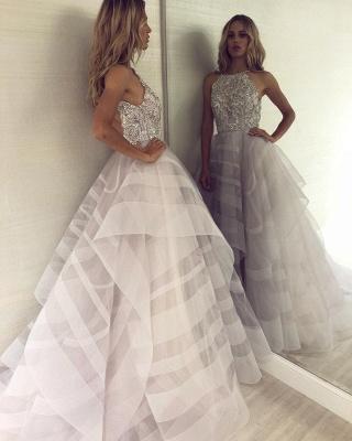 Sexy A-line Appliques Halter Sleeveless Long Length Prom Dress UK_3