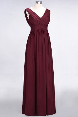 Sexy A-line Flowy Straps Alluring V-neck Sleeveless Floor-Length Bridesmaid Dress UK UK with Ruffles_3