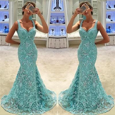 Elegant Mermaid Straps Appliques Sleeveless Long Prom Dress UK_3