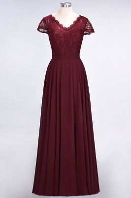 Sexy A-line Flowy Lace Alluring V-neck Cap-Sleeves Floor-Length Bridesmaid Dress UK UK_1
