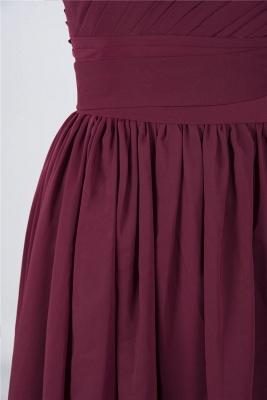 Sexy A-line Flowy One-Shoulder Sleeveless Short length Bridesmaid Dress UK UK with Ruffles_6