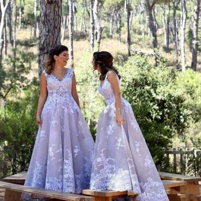 Sexy Straps Appliques V-Neck Sleeveless A-Line Bridesmaid Dress UK_1