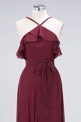 Sexy A-line Flowy Spaghetti-Straps Sleeveless Ruffles Floor-Length Bridesmaid Dress UK UK with Bow Sash_4