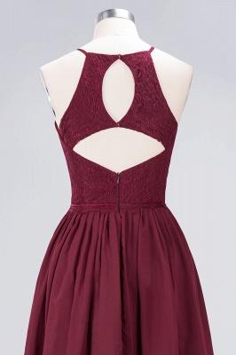 A-line Light Chiffon Lace Jewel Sleeveless Knee-Length Bridesmaid Dress UKes UK UK with Ruffles_5