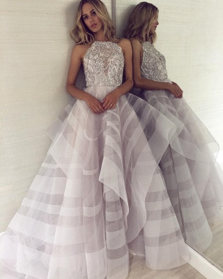 Sexy A-line Appliques Halter Sleeveless Long Length Prom Dress UK_5