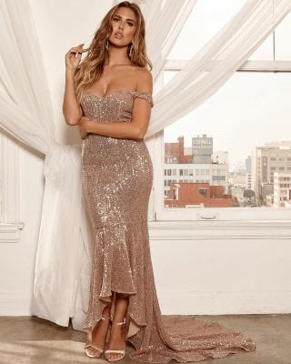 Elegant Hot Off-the-Shoulder Sleeveless Column High Low Prom Dress UK UK_5