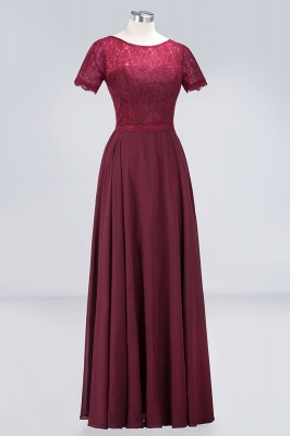 Sexy A-line Flowy Lace Round-Neck Short-Sleeves Floor-Length Bridesmaid Dress UK UK_3