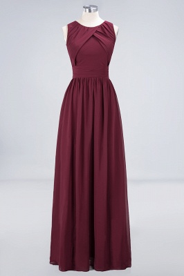 Sexy A-line Flowy Round-Neck Sleeveless Floor-Length Bridesmaid Dress UK UK with Ruffles_1