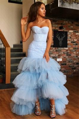 Elegant Mermaid Tulle Layers Strapless Sleeveless High-Low Prom Dress UK_4