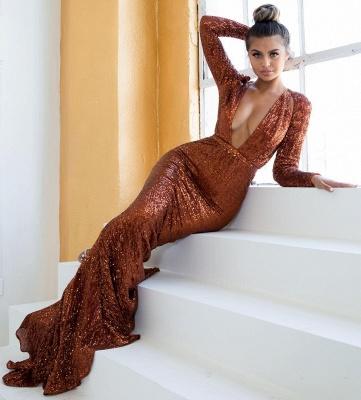 Elegant Hot Deep V-Neck Long Sleeves Elegant Mermaid Prom Dress UK UK_3