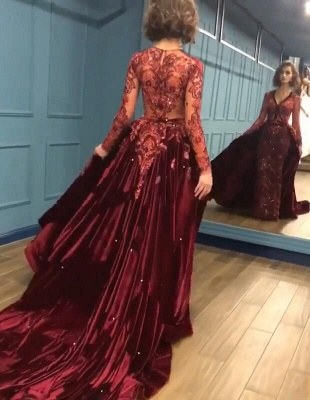 Sparkle Beads Burgundy Velvet Long Sleeves Prom Dress UKes UK UK with Appliques BC0731_4