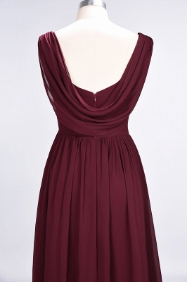 Sexy A-line Flowy Straps Alluring V-neck Sleeveless Floor-Length Bridesmaid Dress UK UK with Ruffles_6